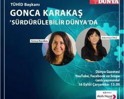 TÜHİD Başkanı Gonca Karakaş Dünya Gazetesi Sürdürülebilir Dünya Programına konuk oldu
